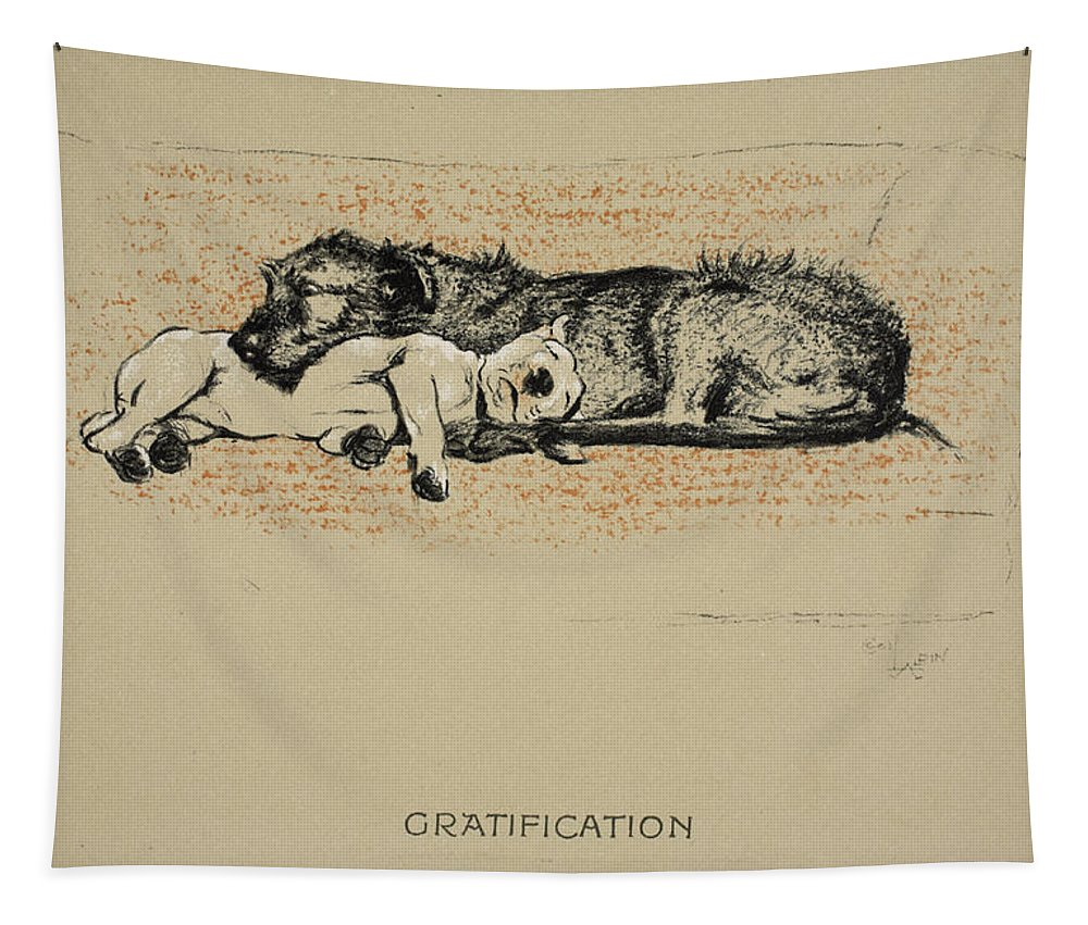 Dogs Tapestry featuring the drawing Gratification, 1930, 1st Edition by Cecil Charles Windsor Aldin