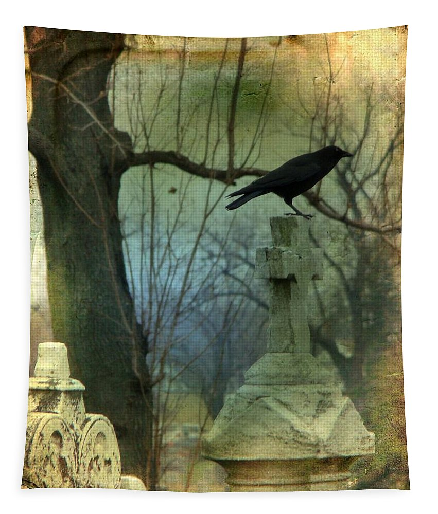 Aged Image Tapestry featuring the photograph Graveyard Cross by Gothicrow Images