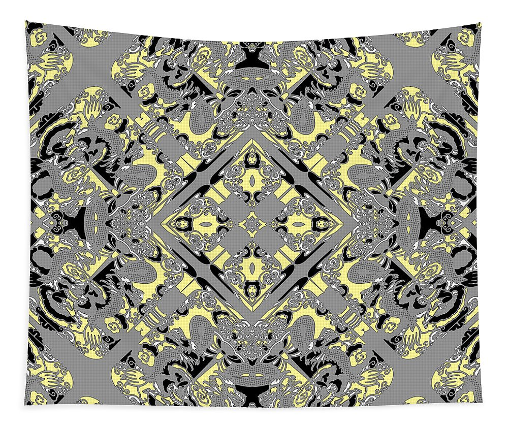 Diagonal Tapestry featuring the digital art Gray And Yellow No. 1 by Joy McKenzie