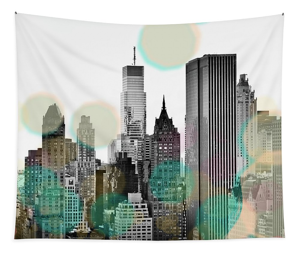 Gray Tapestry featuring the digital art Gray City Beams by Sundance B