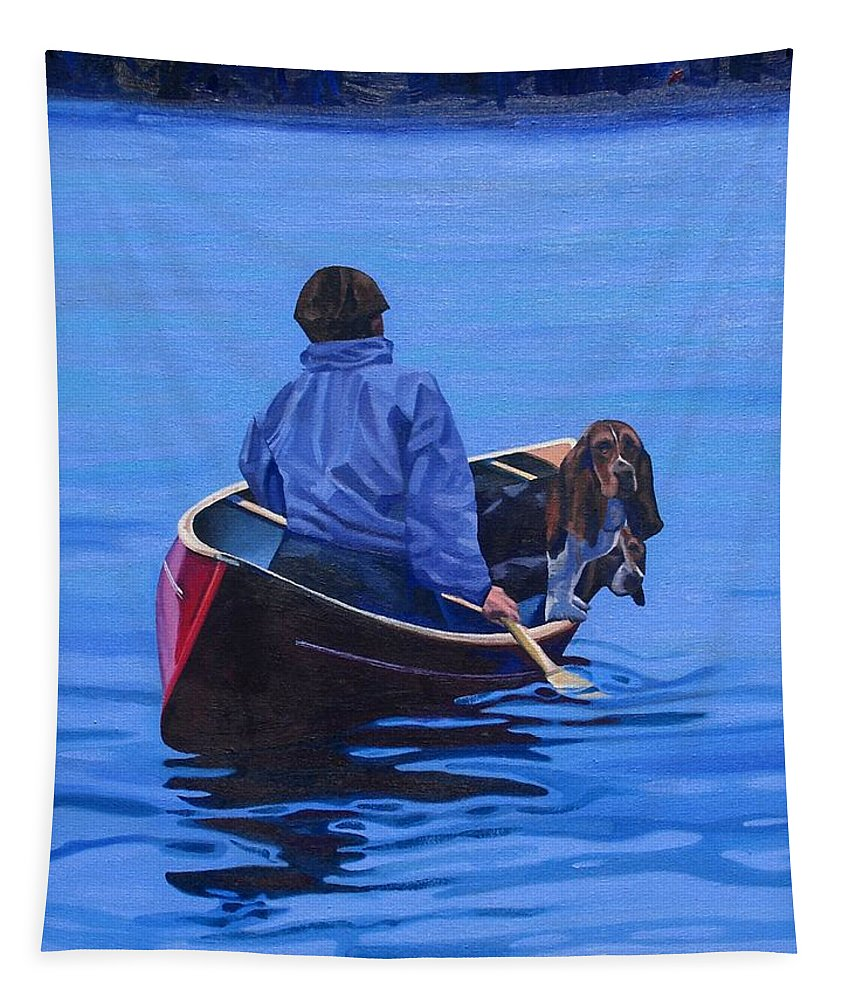 Canoe Tapestry featuring the painting Gray Hound Express by Phil Chadwick