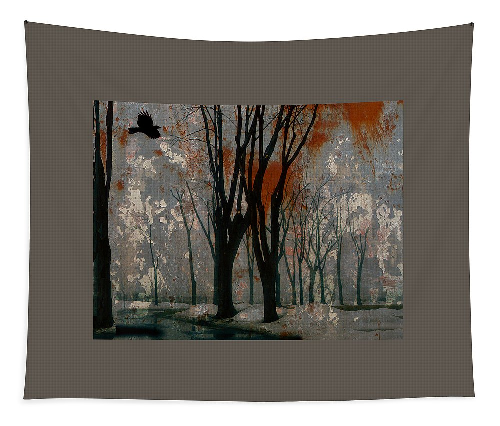 Crow Art Image Tapestry featuring the digital art Gray Mirage by Gothicrow Images