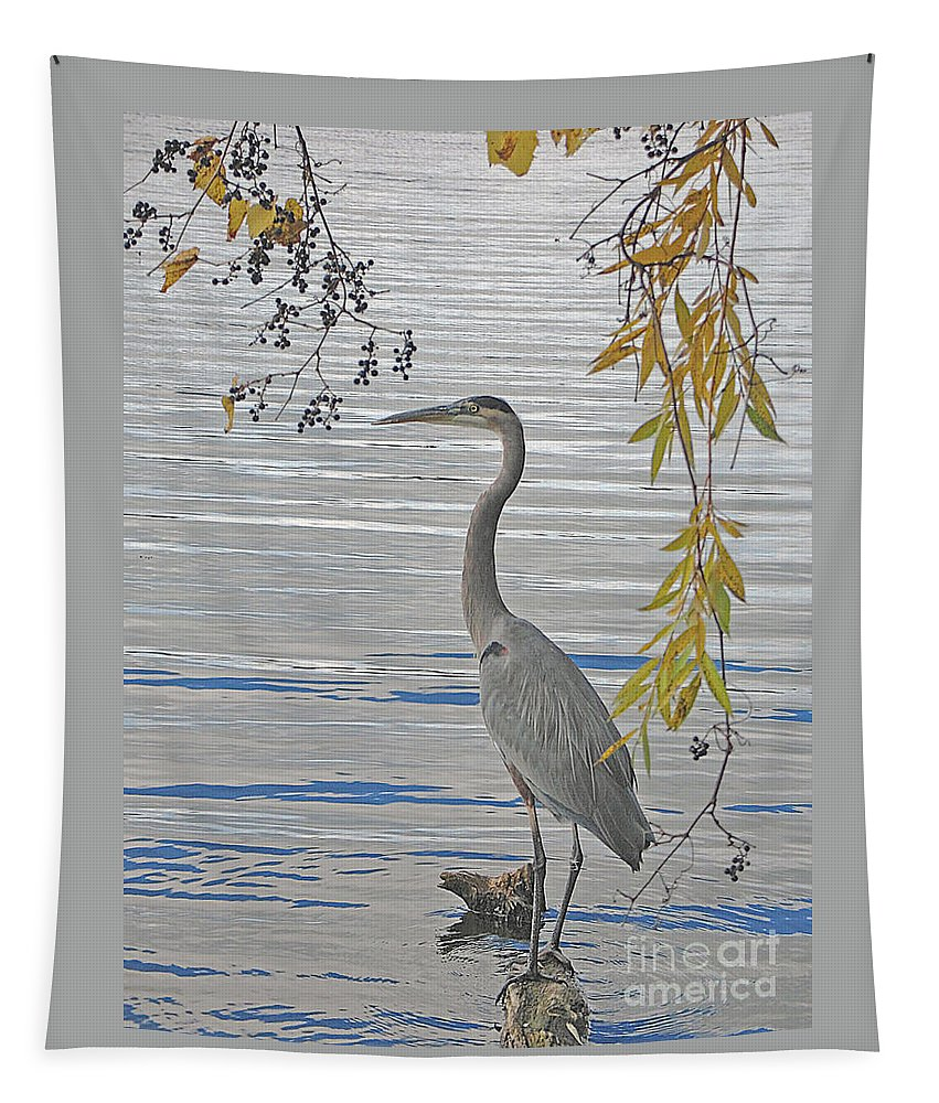 Heron Tapestry featuring the photograph Great Blue Heron by Ann Horn