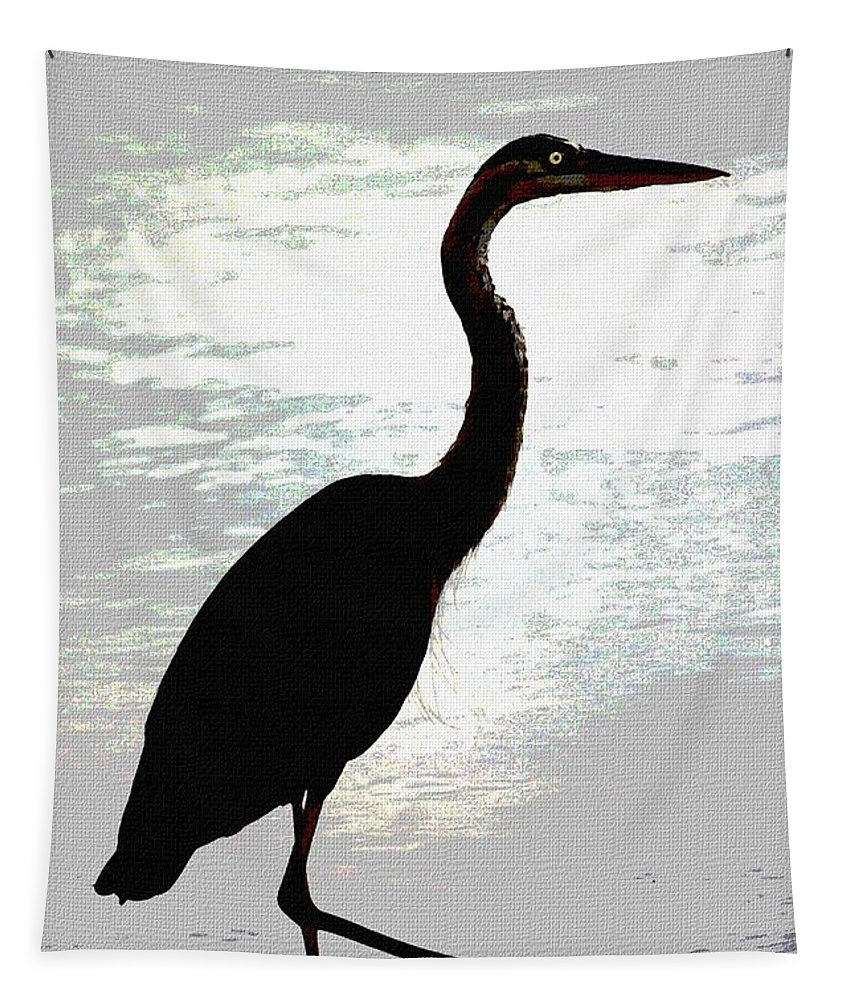 Great Blue Heron Tapestry featuring the photograph Great Blue Herons Nightside by Tom Janca