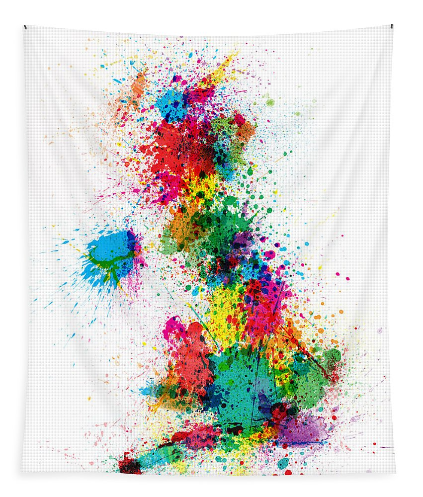 United Kingdom Map Tapestry featuring the digital art Great Britain Uk Map Paint Splashes by Michael Tompsett