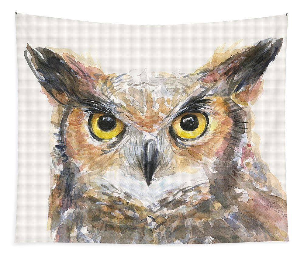 Owl Tapestry featuring the painting Great Horned Owl Watercolor by Olga Shvartsur
