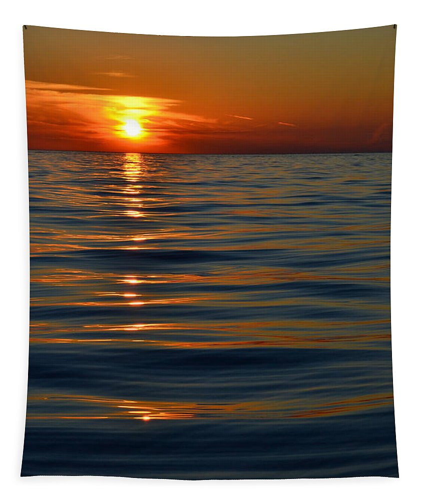 Sunsets Tapestry featuring the photograph Great Lake Sunset by Michelle Calkins