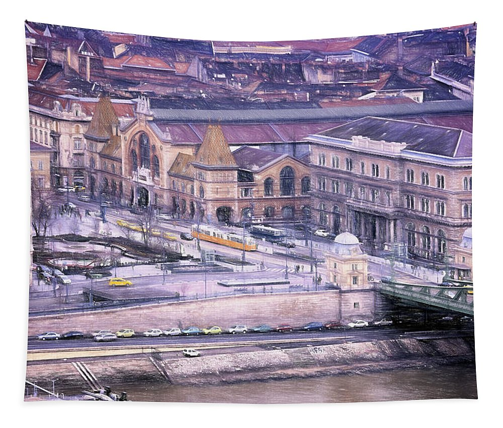 Joan Carroll Tapestry featuring the photograph Great Market Hall Budapest by Joan Carroll