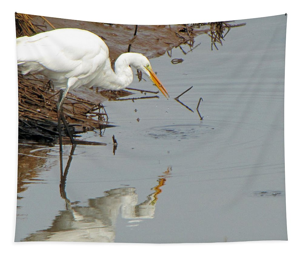 Great White Egret Tapestry featuring the photograph Great White Egret by Tikvah's Hope