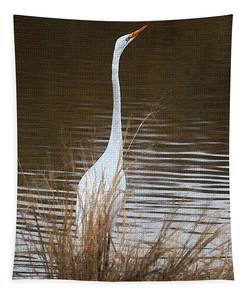 Greater Egret Posturing Tapestry featuring the photograph Greater Egret Posturing by Tom Janca