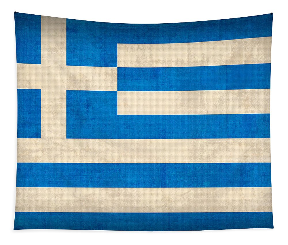 Greece Greek Athen Hellenic Ruins Acropolis Flag Vintage Distressed Finish Tapestry featuring the mixed media Greece Flag Vintage Distressed Finish by Design Turnpike
