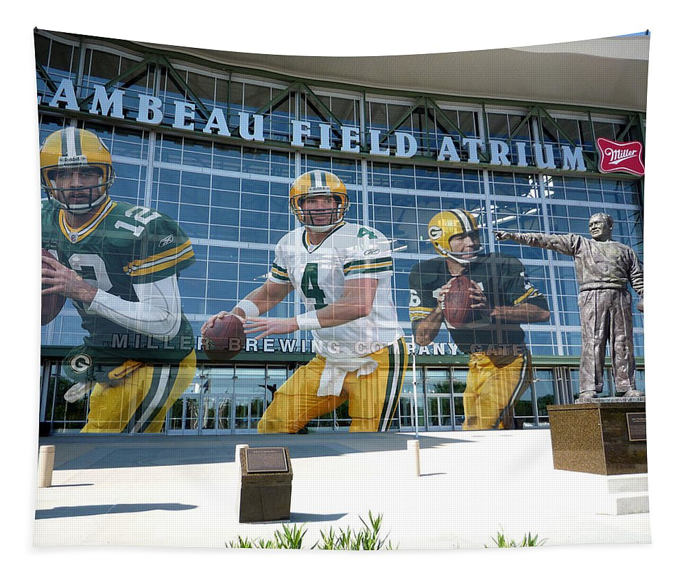 Bret Favre Tapestry featuring the photograph Green Bay Packers Lambeau Field by Joe Hamilton