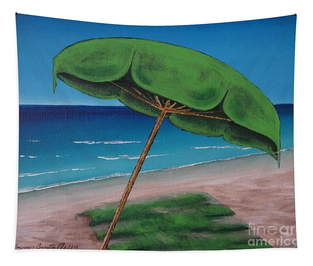 Clear Tapestry featuring the painting Green Beach Umbrella by Wayne Cantrell