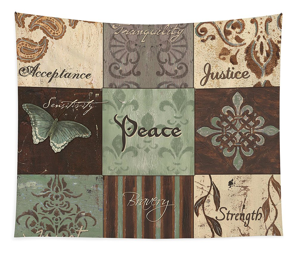 Inspirational Tapestry featuring the painting Green Brown Wtlb 2 by Debbie DeWitt