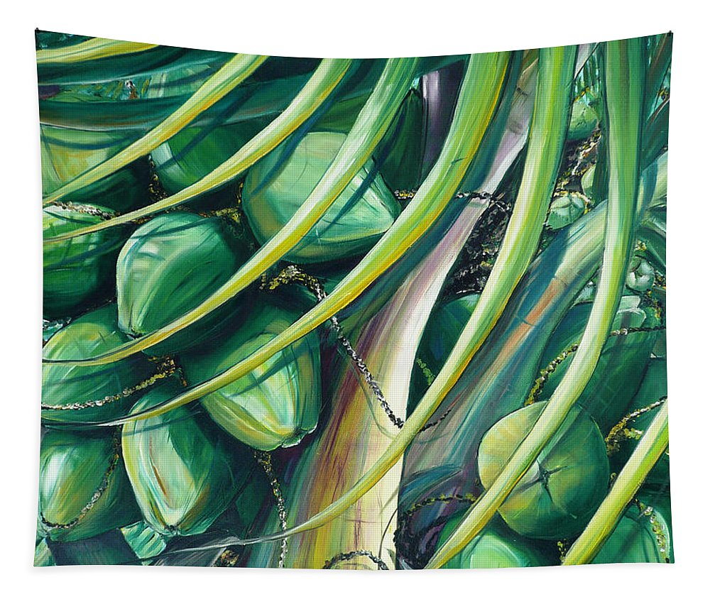 Coconut Painting Caribbean Painting Coconuts Caribbean Tropical Painting Palm Tree Painting  Green Botanical Painting Green Painting Tapestry featuring the painting Green Coconuts 2 by Karin Dawn Kelshall- Best