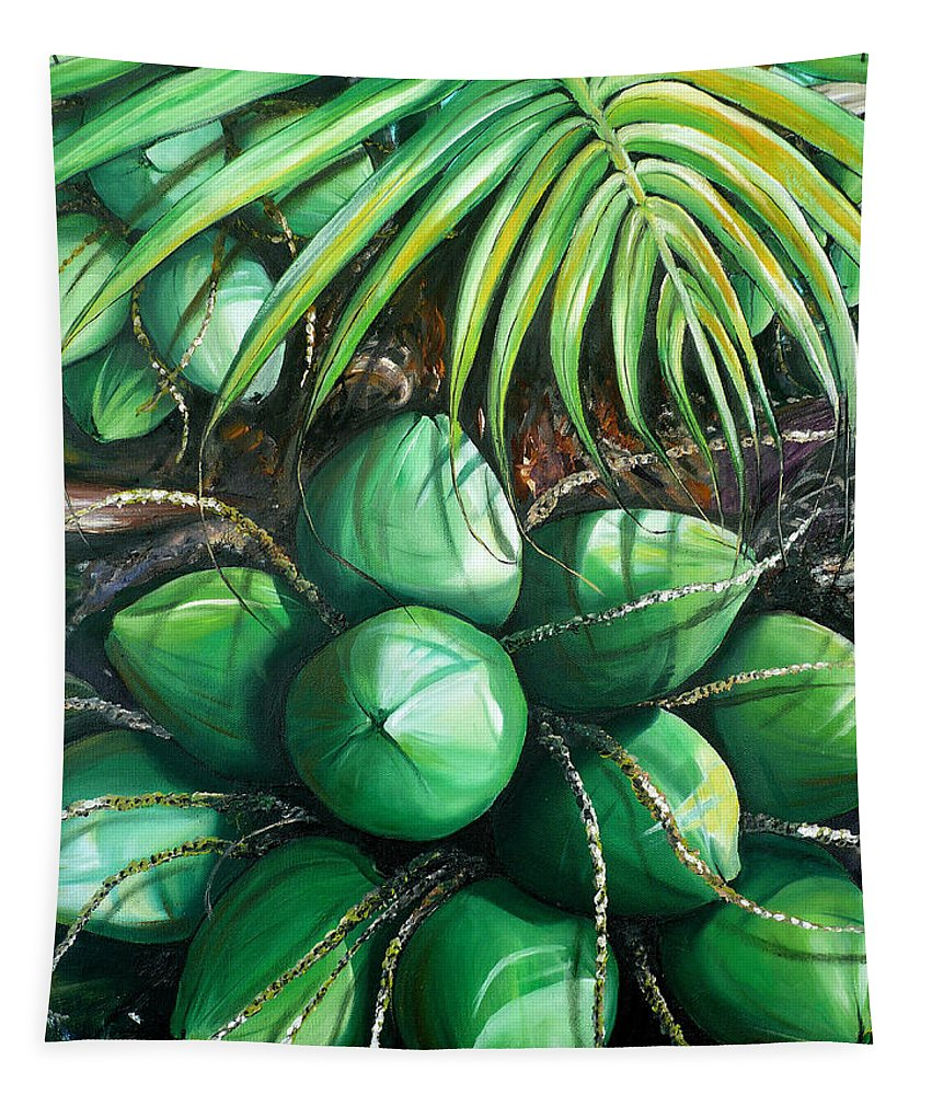 Tropical Painting Caribbean Painting Green Painting Palm Tree Painting Greeting Card Painting Botanical Painting Tree Painting Tapestry featuring the painting Green Coconuts 3 Sold by Karin Dawn Kelshall- Best