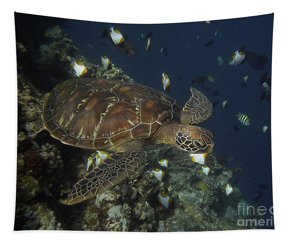 Green Tapestry featuring the photograph Hawksbill Turtle by Sergey Lukashin