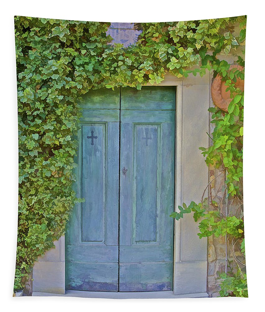 Cross Tapestry featuring the photograph Green Wood Door Of Tuscany by David Letts