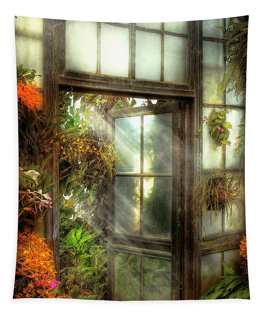 Savad Tapestry featuring the photograph Greenhouse - The Door To Paradise by Mike Savad