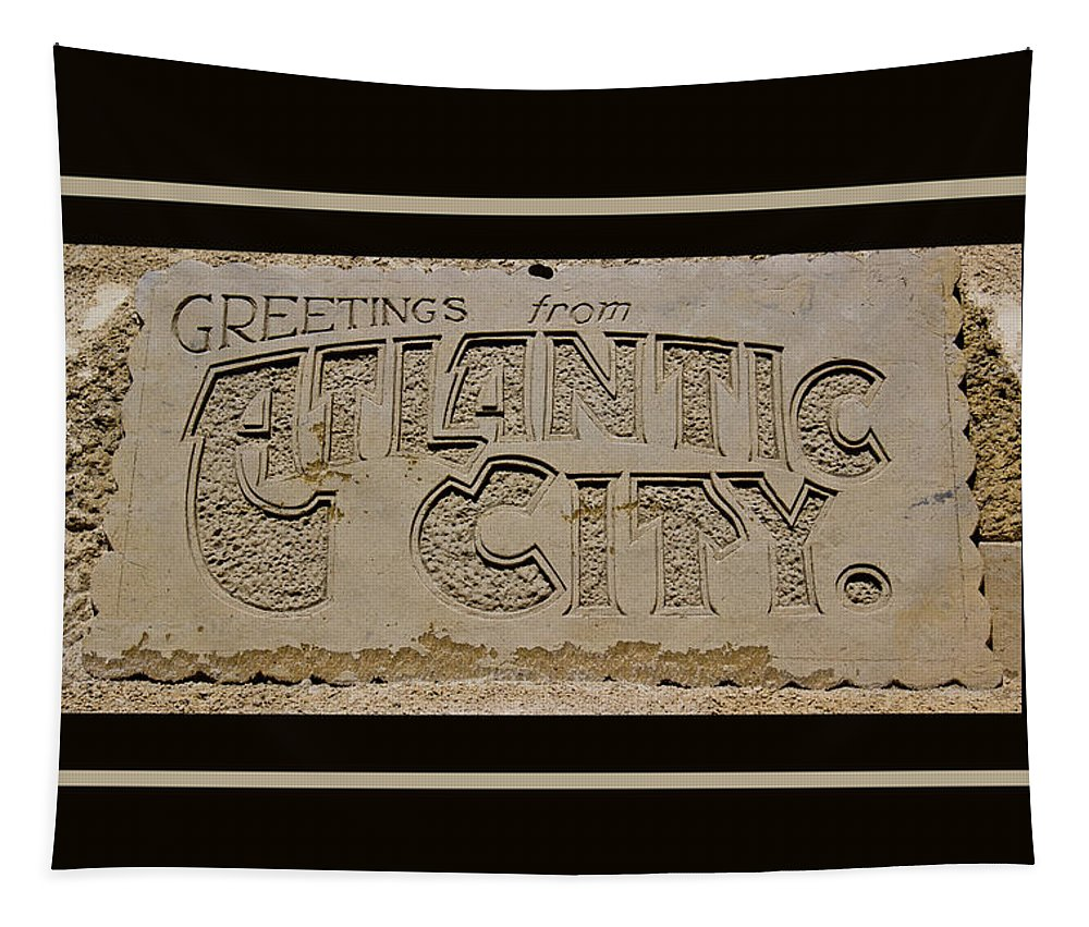 Greetings Tapestry featuring the photograph Greetings From Atlantic City by Tom Gari Gallery-Three-Photography