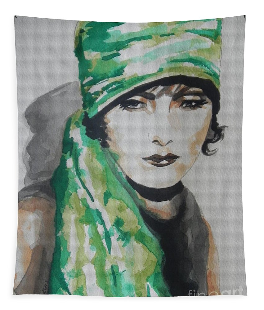 Watercolor Painting Tapestry featuring the painting Greta Garbo by Chrisann Ellis