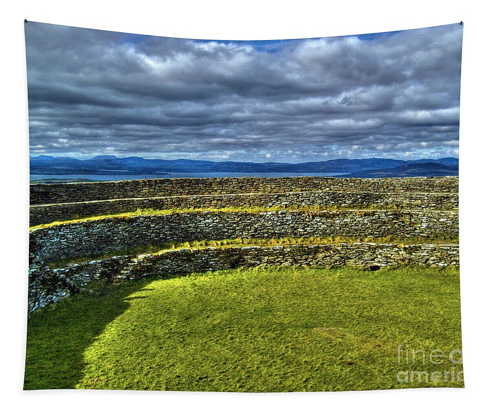 Grianan Of Aileach Tapestry featuring the photograph Grianan Of Aileach Fort by Nina Ficur Feenan