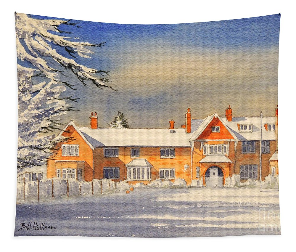 Griffin House School Tapestry featuring the painting Griffin House School - Snowy Day by Bill Holkham