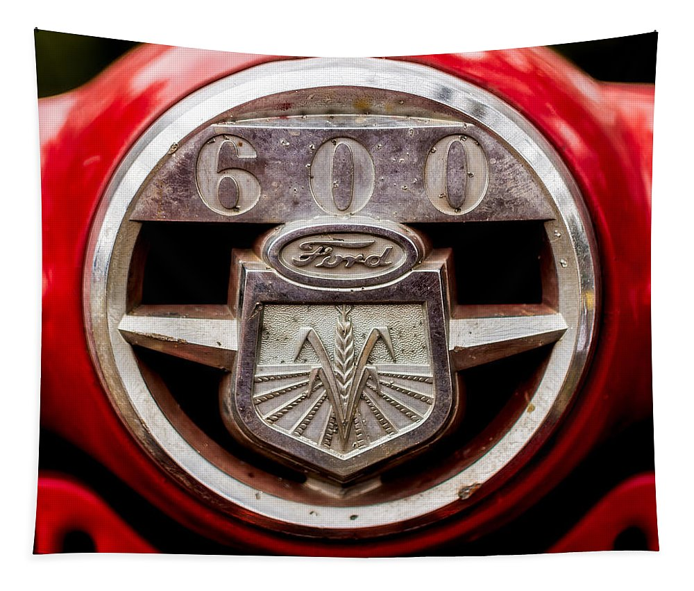 Ford Tapestry featuring the photograph Grill Logo Detail - 1950s-vintage Ford 601 Workmaster Tractor by Jon Woodhams
