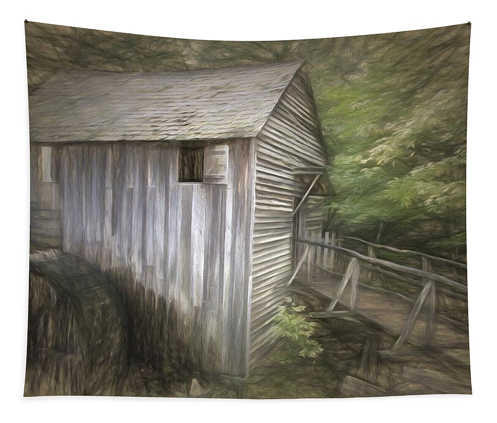 John P Cable Mill Tapestry featuring the photograph Grist Mill At Cades Cove by Alice Gipson
