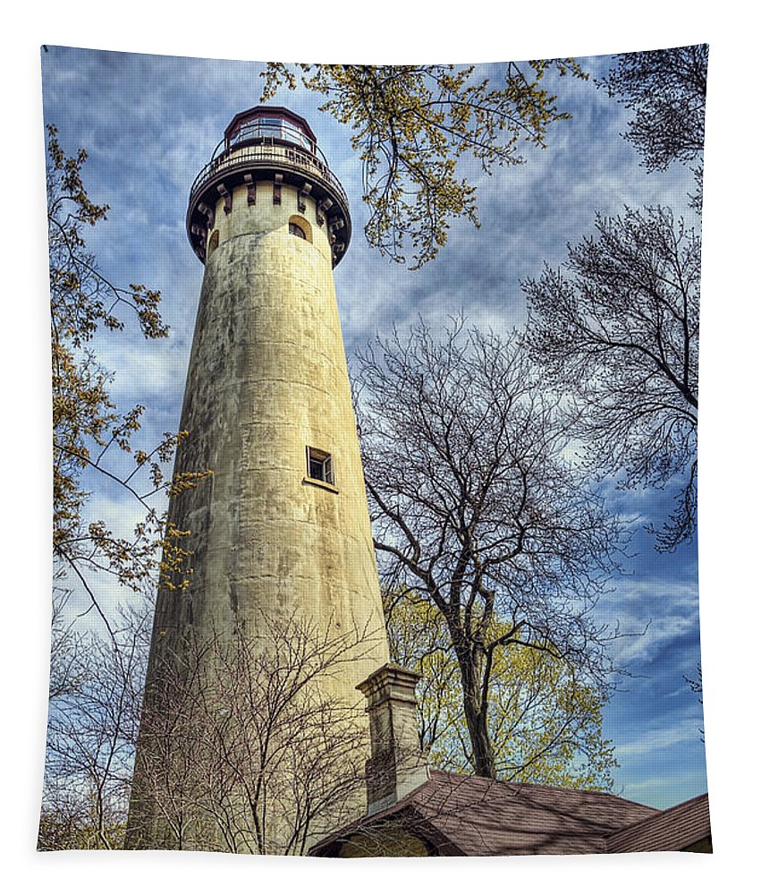 Lighthouse Tapestry featuring the photograph Grosse Point Lighthouse Color by Scott Norris