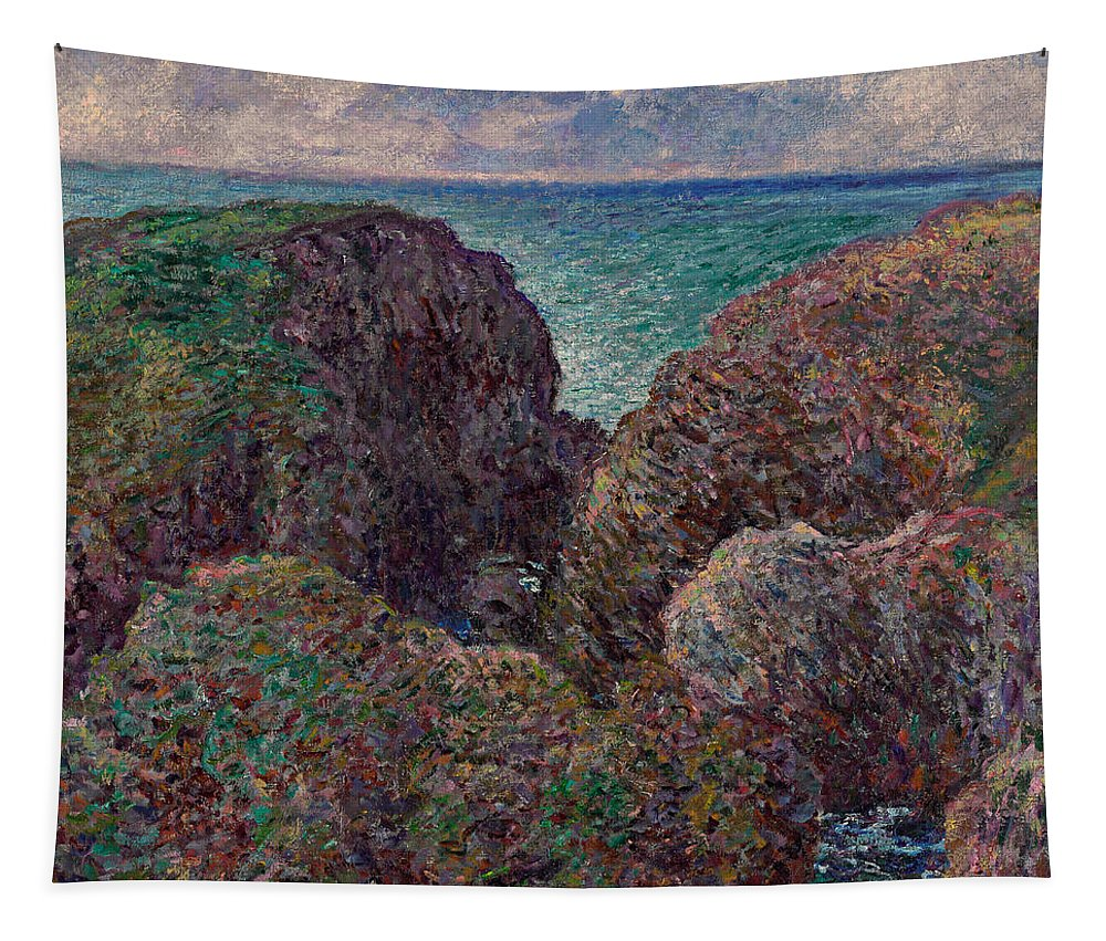 Monet Tapestry featuring the painting Group Of Rocks At Port Goulphar by Claude Monet