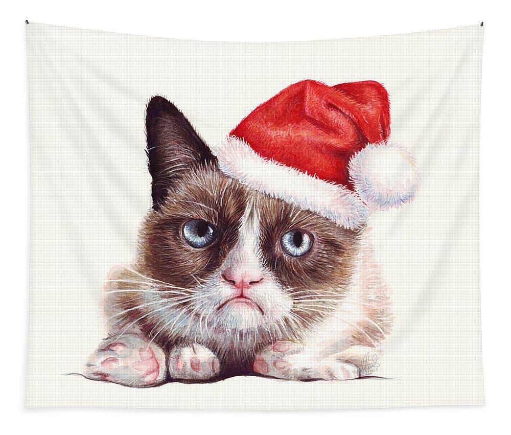 Grumpy Tapestry featuring the painting Grumpy Cat as Santa by Olga Shvartsur