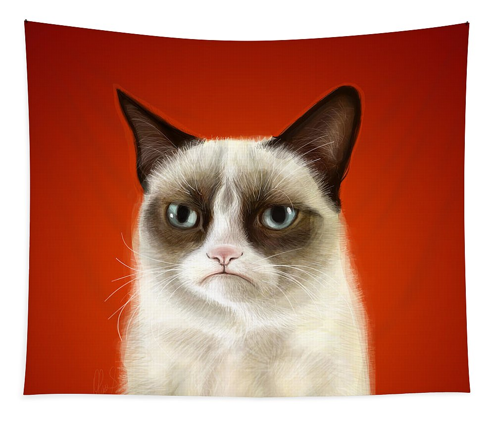 Grumpy Tapestry featuring the digital art Grumpy Cat by Olga Shvartsur