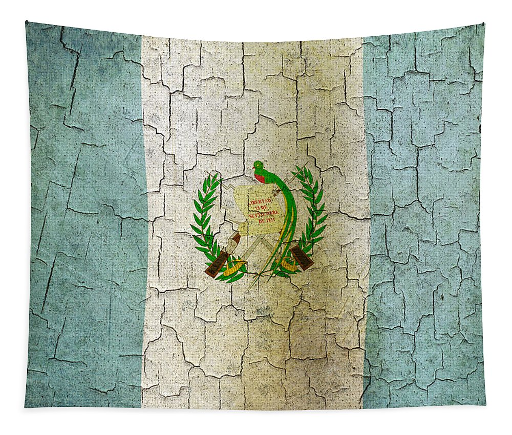 Aged Tapestry featuring the digital art Grunge Guatemala Flag by Steve Ball