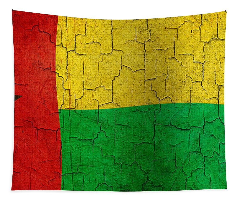 Aged Tapestry featuring the digital art Grunge Guinea-bissau Flag by Steve Ball