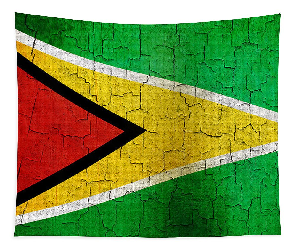 Aged Tapestry featuring the digital art Grunge Guyana Flag by Steve Ball