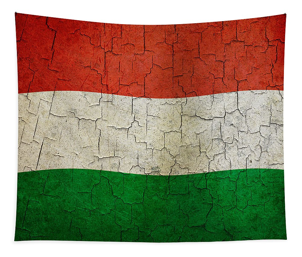Aged Tapestry featuring the digital art Grunge Hungary Flag by Steve Ball