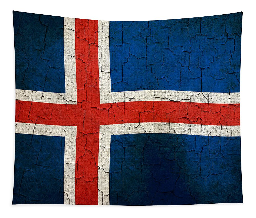 Aged Tapestry featuring the digital art Grunge Iceland Flag by Steve Ball