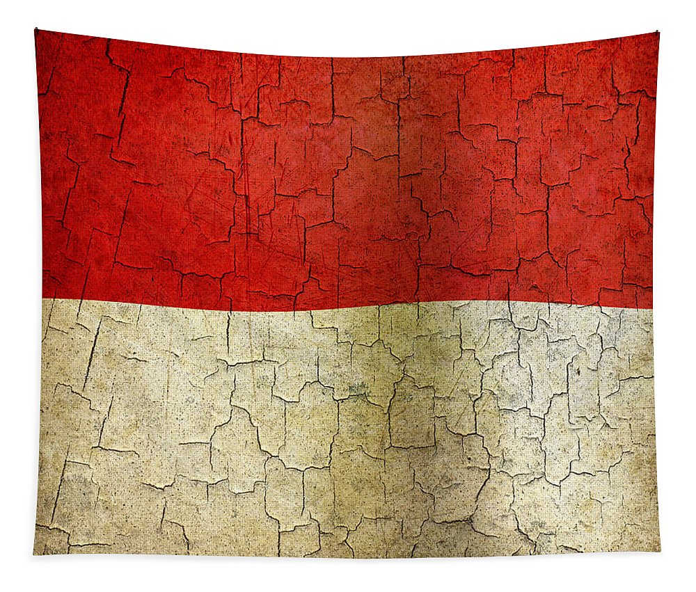 Aged Tapestry featuring the digital art Grunge Indonesia Flag by Steve Ball