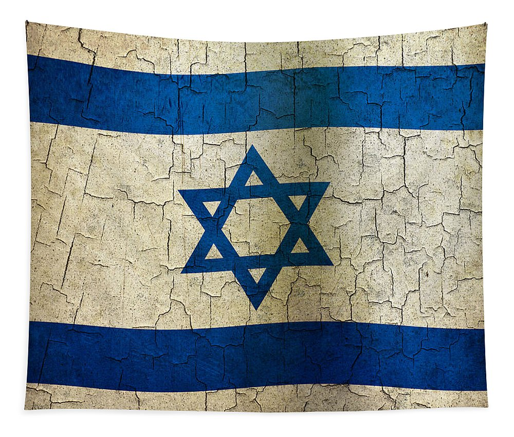 Aged Tapestry featuring the digital art Grunge Israel Flag by Steve Ball
