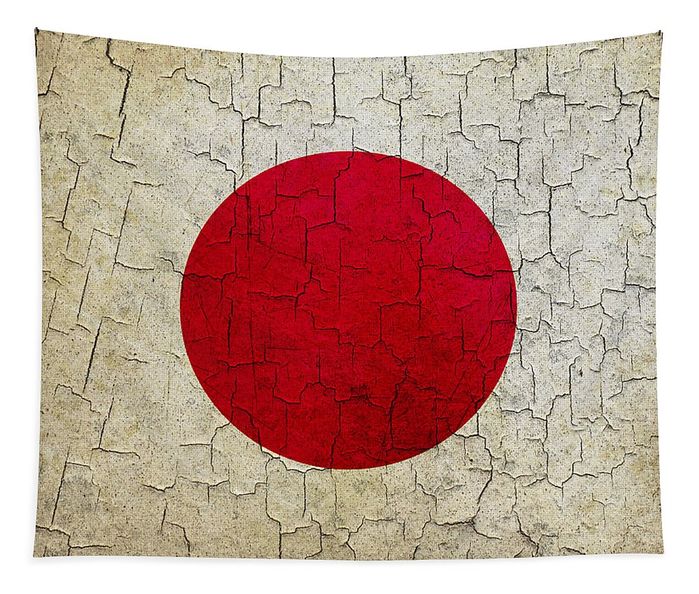 Aged Tapestry featuring the digital art Grunge Japan Flag by Steve Ball