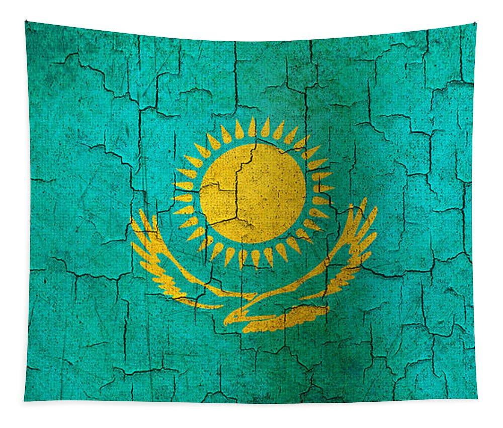Aged Tapestry featuring the digital art Grunge Kazakhstan Flag by Steve Ball