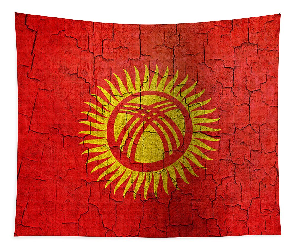 Aged Tapestry featuring the digital art Grunge Kyrgyzstan Flag by Steve Ball