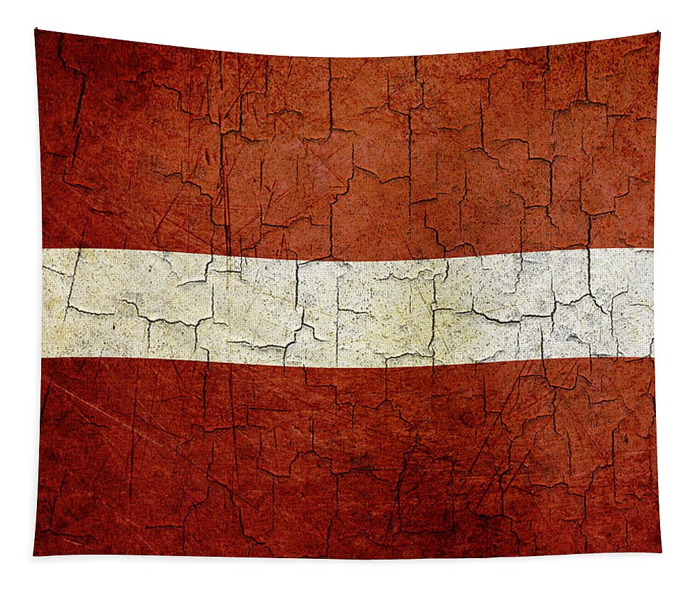 Aged Tapestry featuring the digital art Grunge Latvia Flag by Steve Ball
