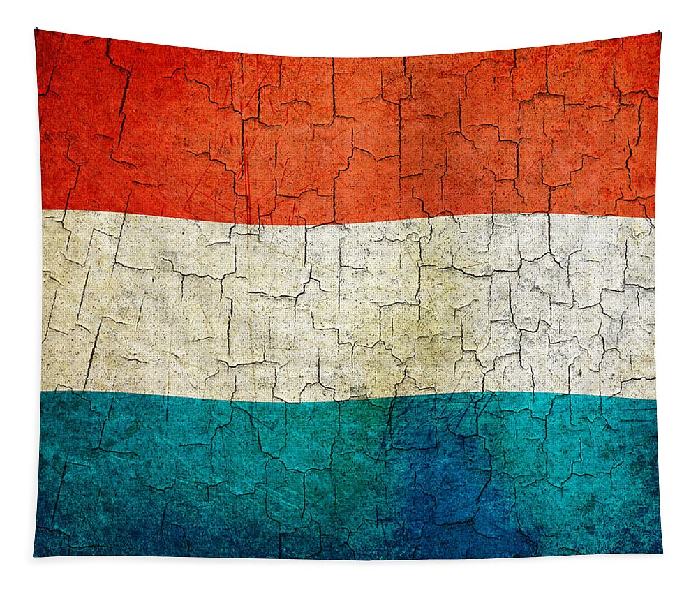 Aged Tapestry featuring the digital art Grunge Luxembourg Flag by Steve Ball