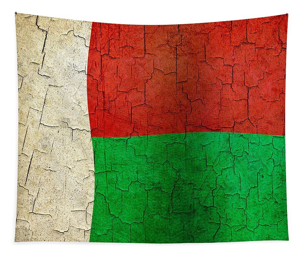 Madagascar Tapestry featuring the digital art Grunge Madagascar Flag by Steve Ball