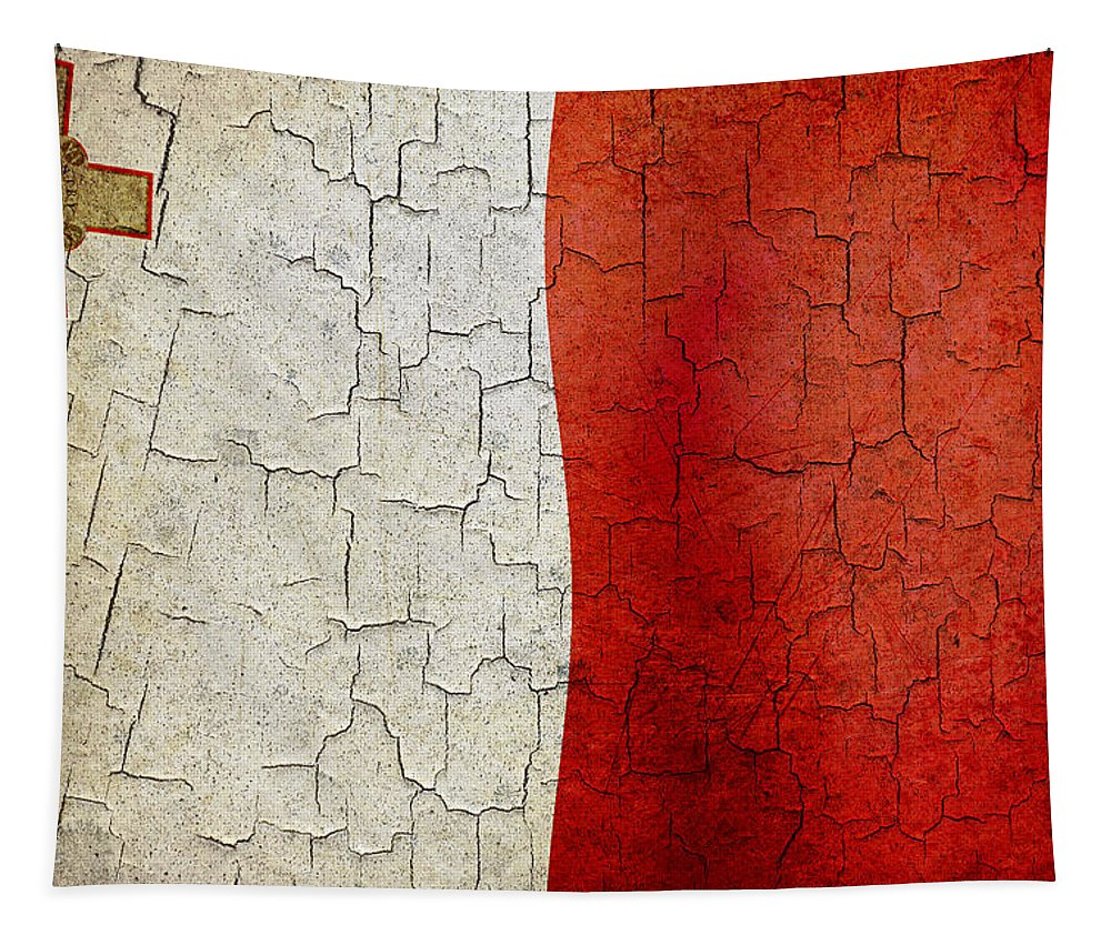 Aged Tapestry featuring the digital art Grunge Malta Flag by Steve Ball
