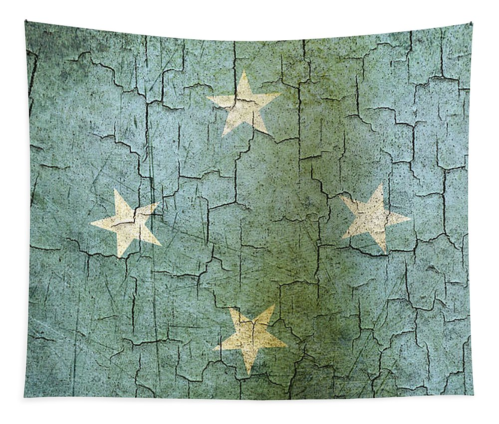 Aged Tapestry featuring the digital art Grunge Micronesia Flag by Steve Ball