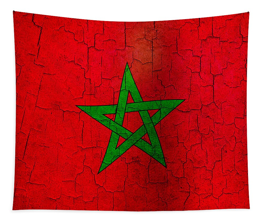Aged Tapestry featuring the digital art Grunge Morocco Flag by Steve Ball