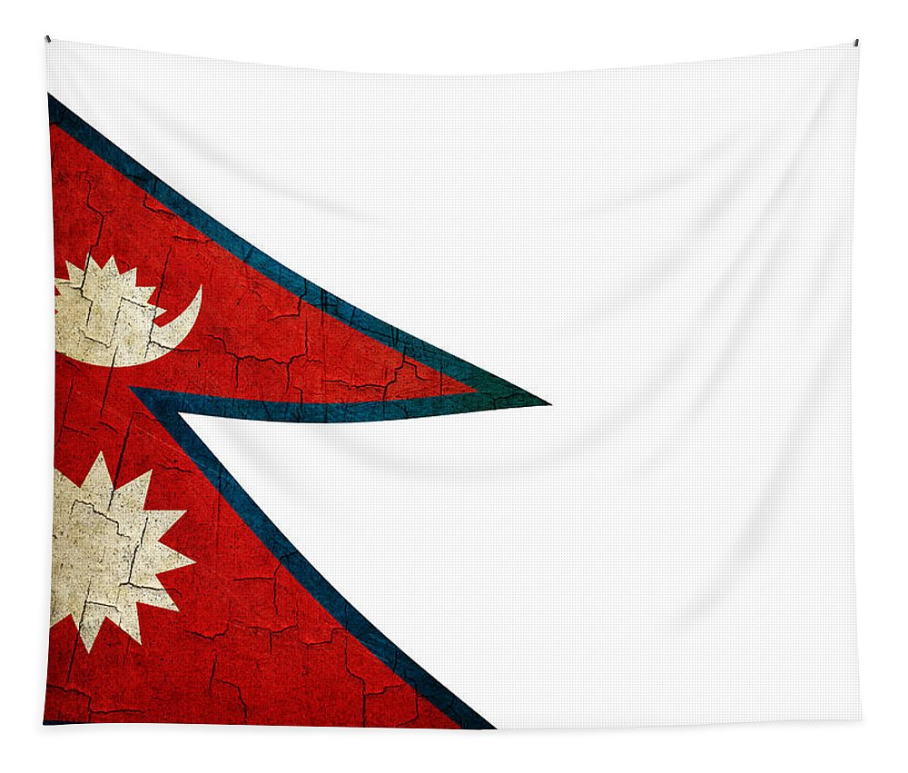 Aged Tapestry featuring the digital art Grunge Nepal Flag by Steve Ball